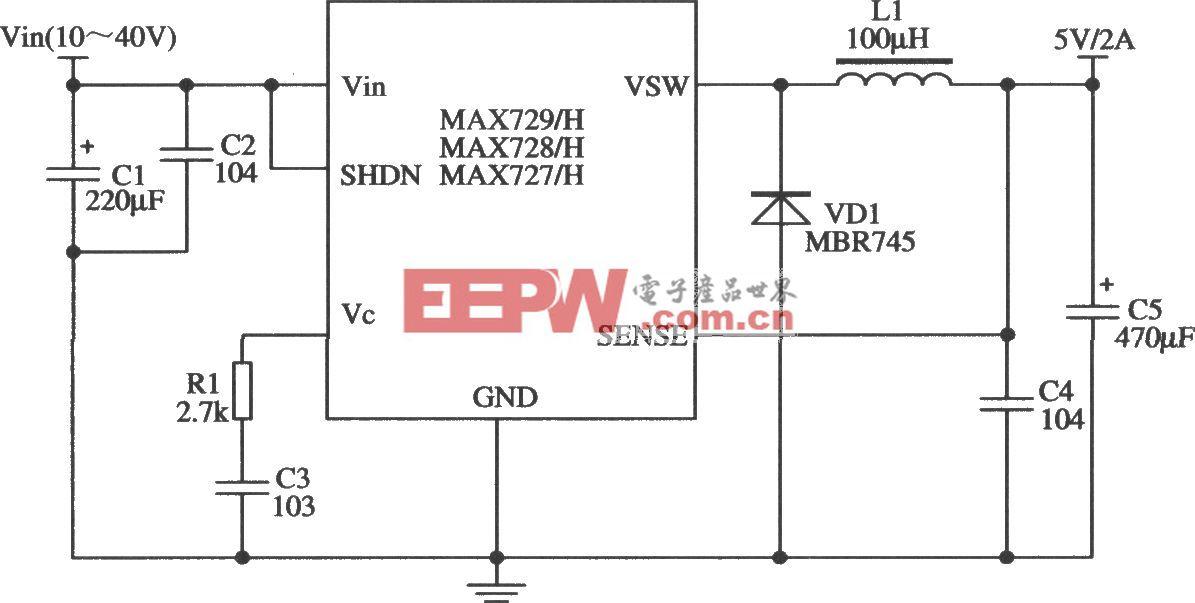 開關集成穩壓器MAX727/MAX728/MAX729的典型應用電路