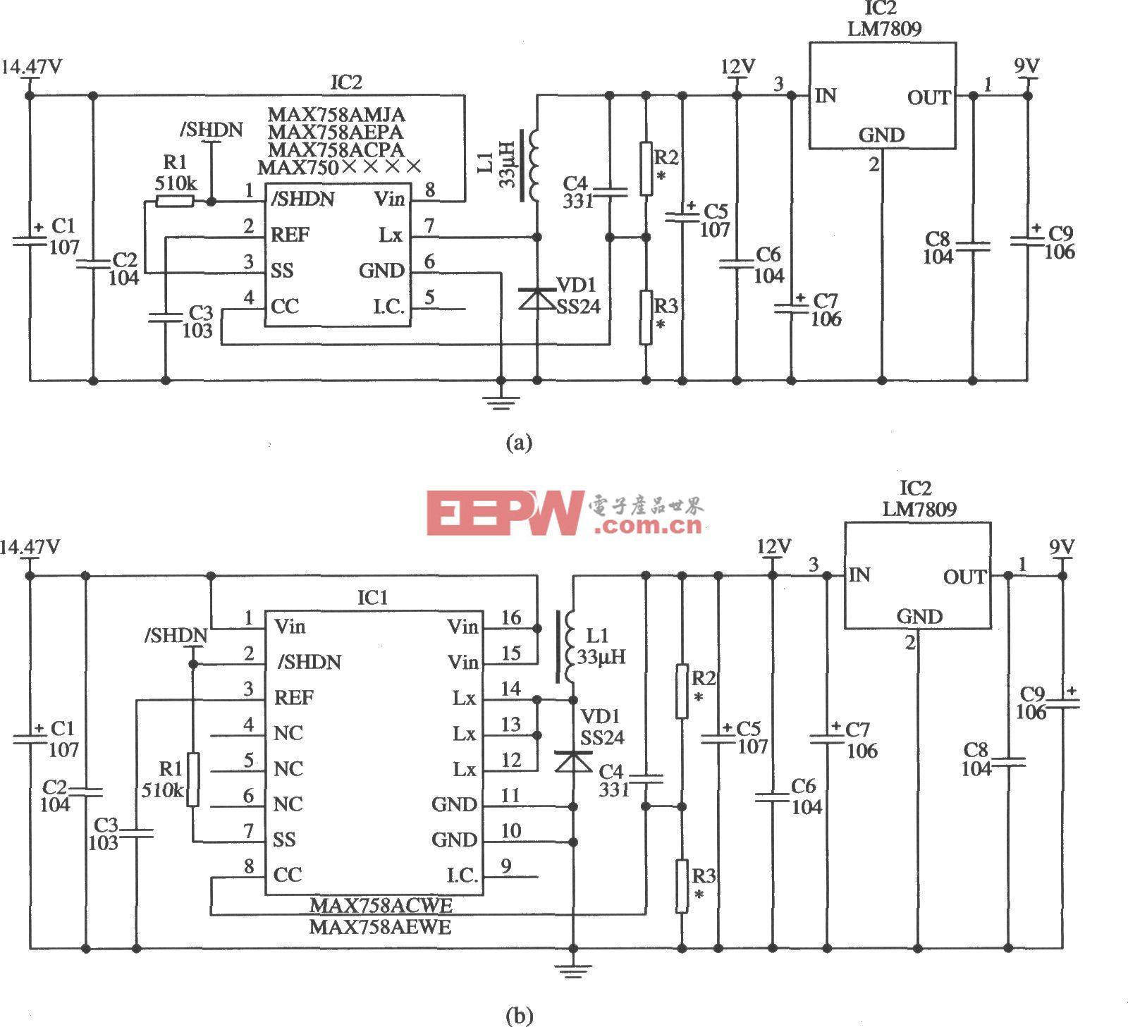 使用MAX750A/MAX758A作爲線性穩壓器的前级稳压的應用電路