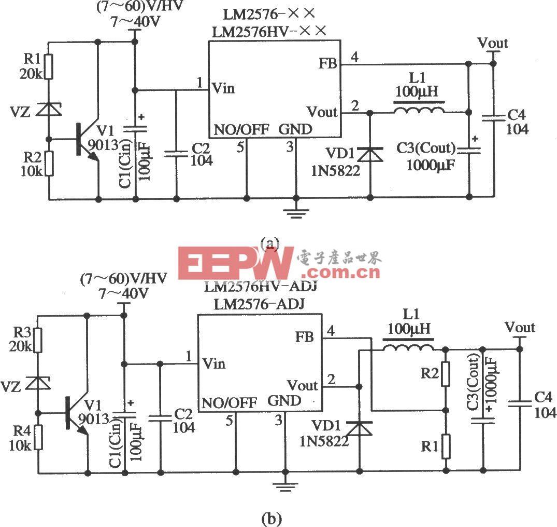 LM2576构成的欠压封锁输出的稳压器应用电路