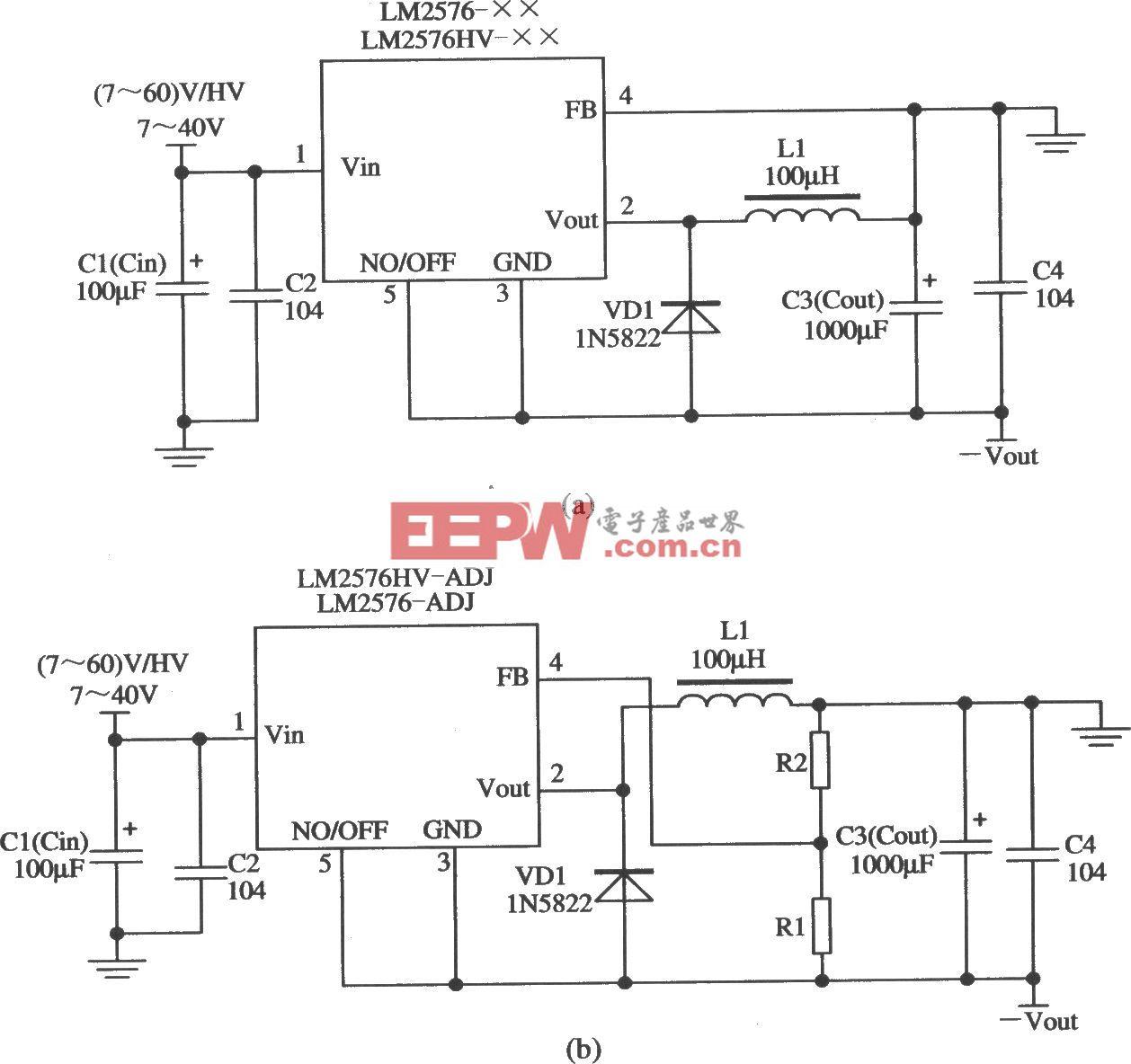 LM2576构成的输出电压极性反转的稳压器应用电路
