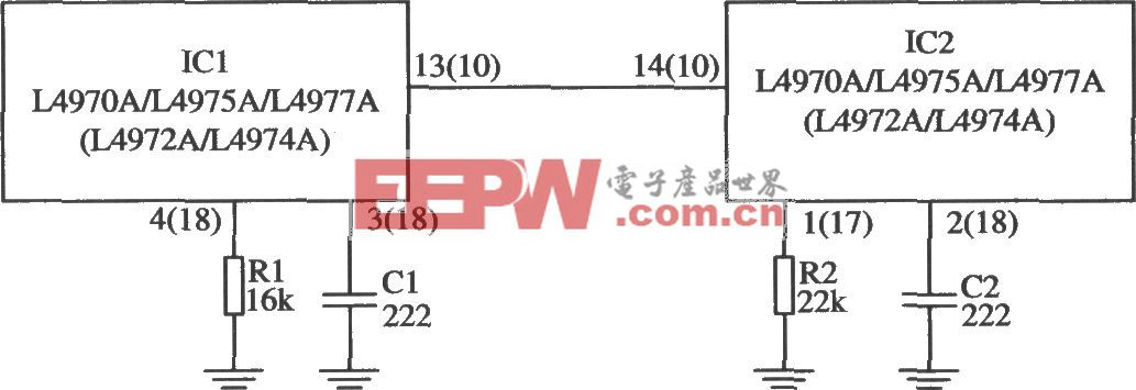多片開關穩壓器L4970A/L4975A的同步電路