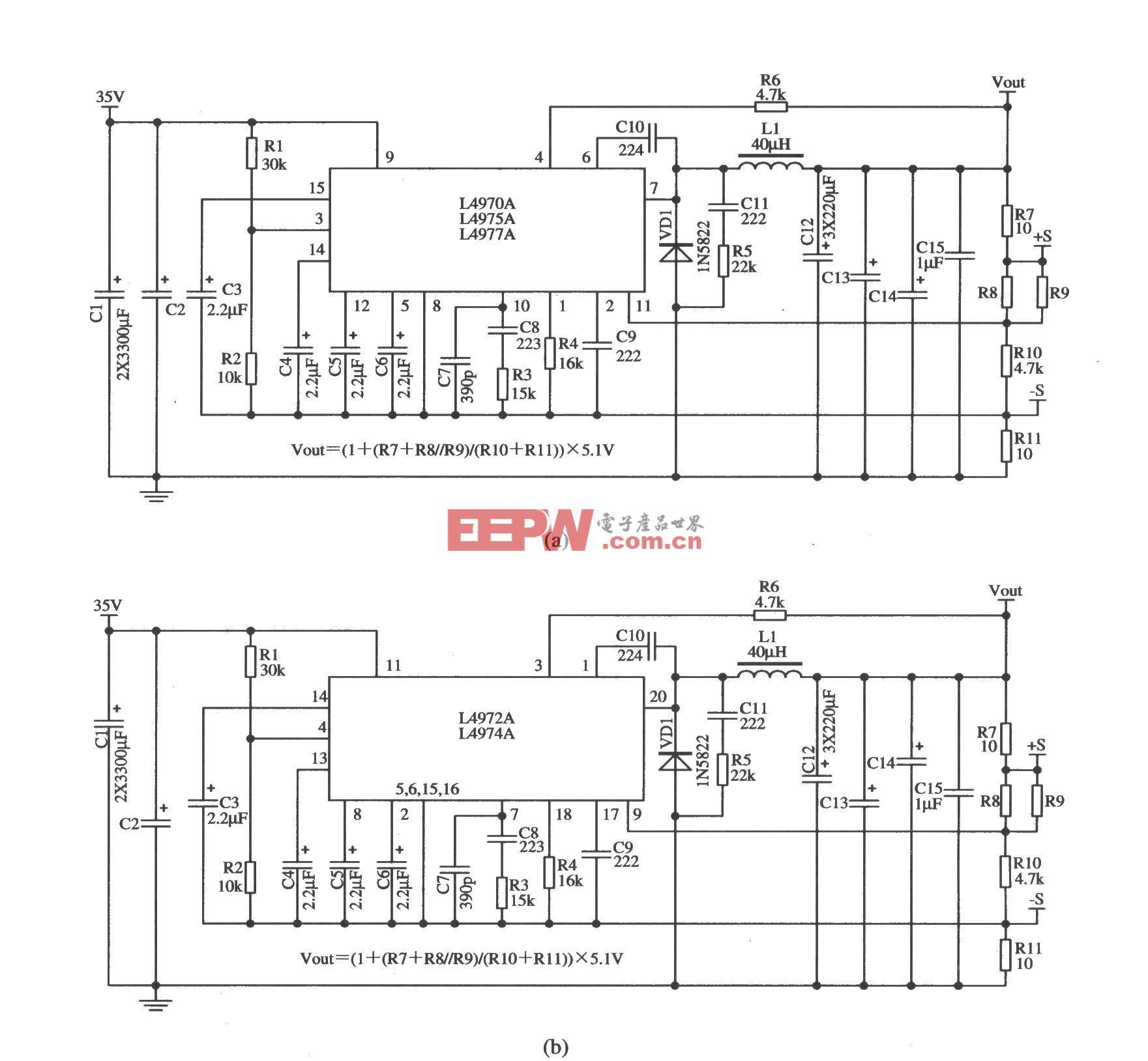 开关集成稳压器L4970A/L4975A/L4977A(L4972A/L4974A)的典型应用电路