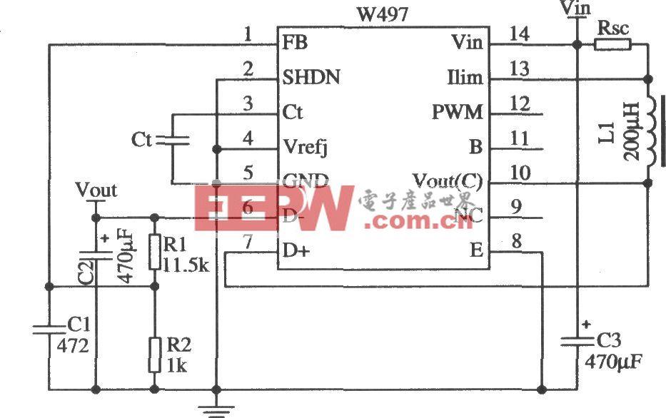 由W497构成的升压型开关稳压器的应用电路