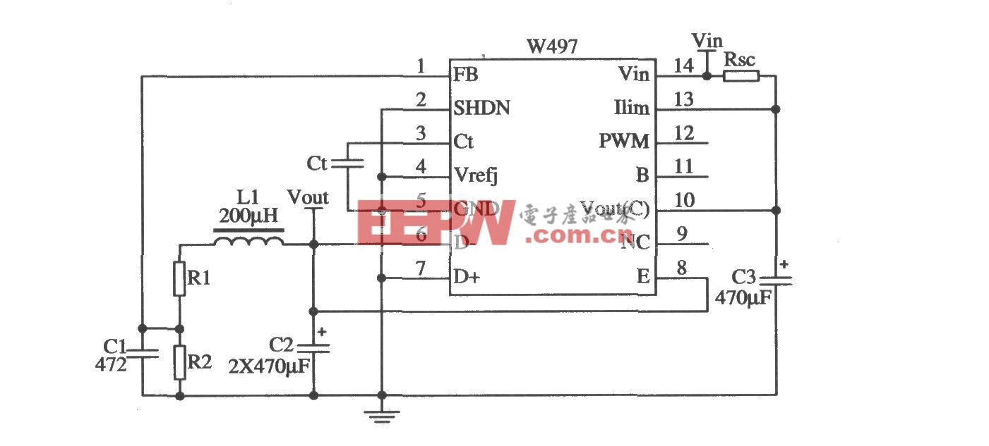 由W497构成的降压型开关稳压器的应用电路
