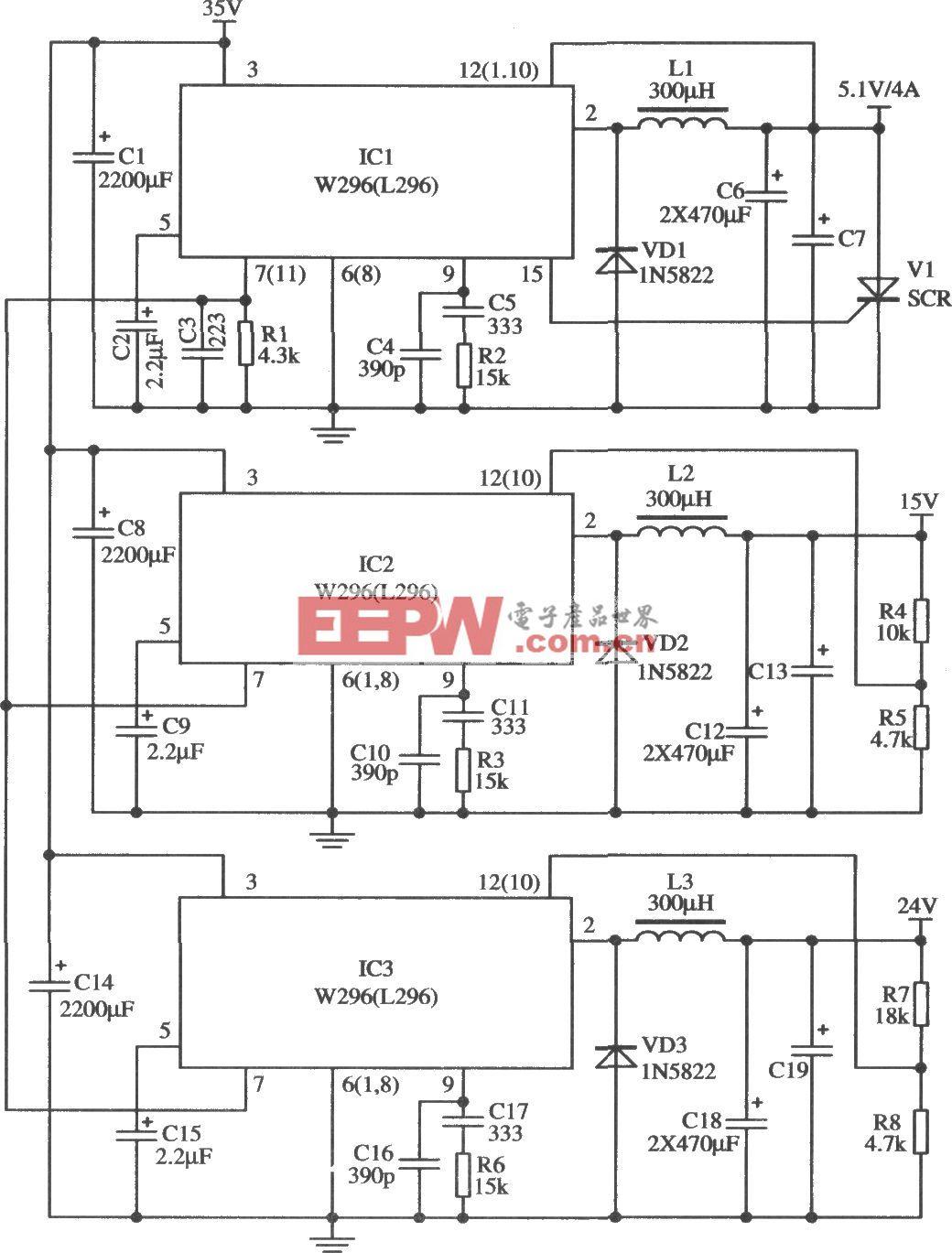 W296同步工作同时提供三路电源的应用电路