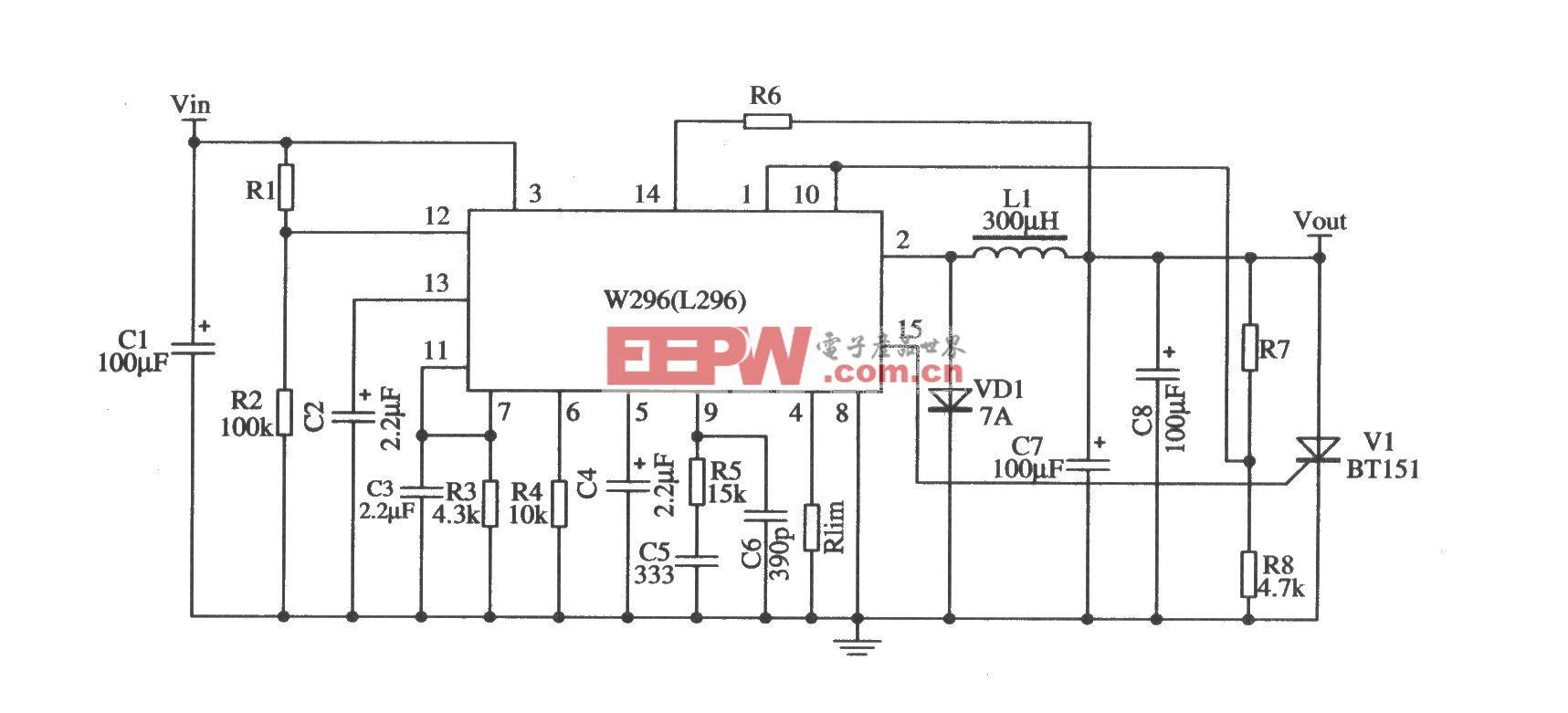 开关集成稳压器W296的典型应用电路
