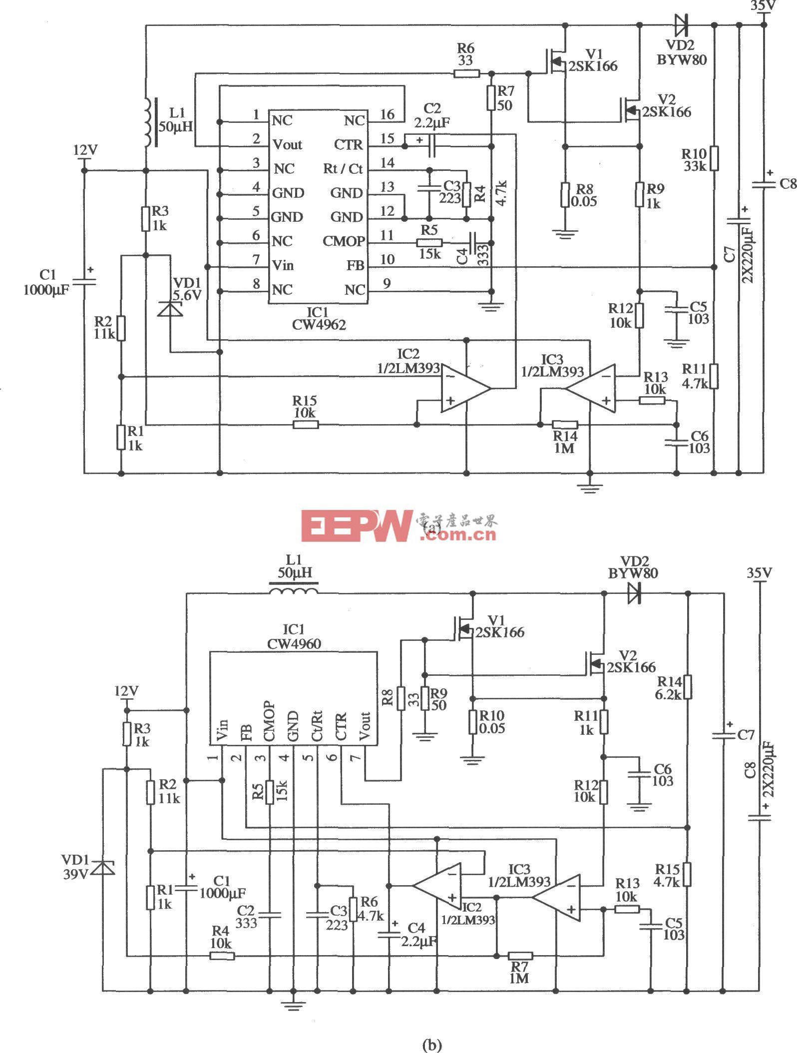 输出电流较大时的升压型应用电路(CW4962/CW4960)