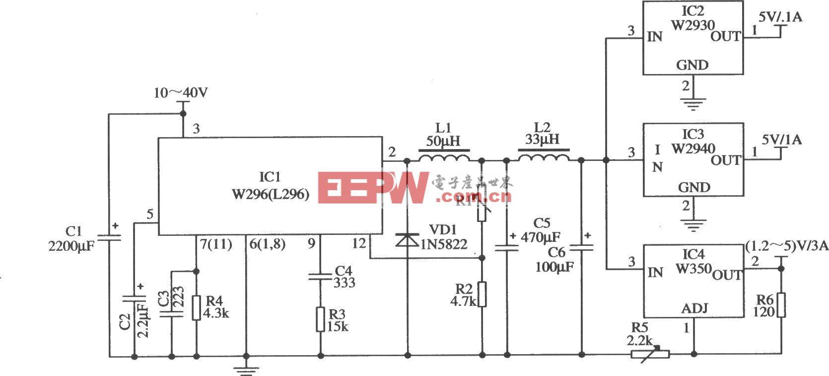 采用W296作预稳压电源的应用电路