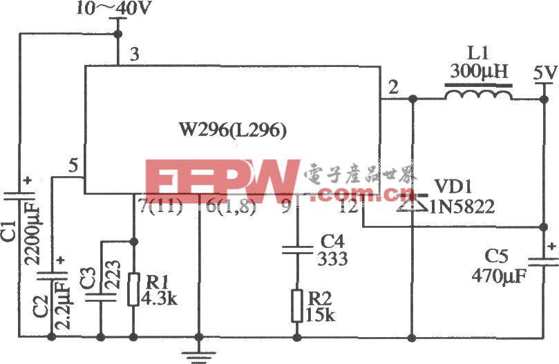 W296构成的外围元器件最少的5V/4A应用电路
