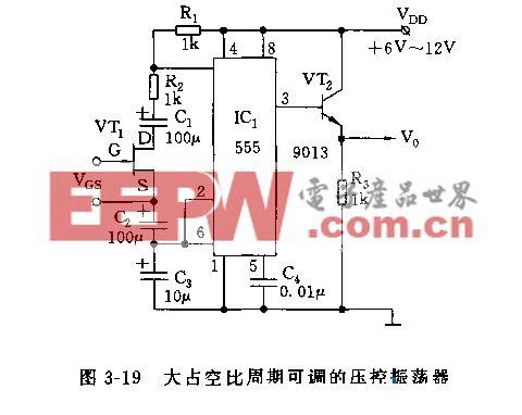 555大占空比周期可调的压控振荡器