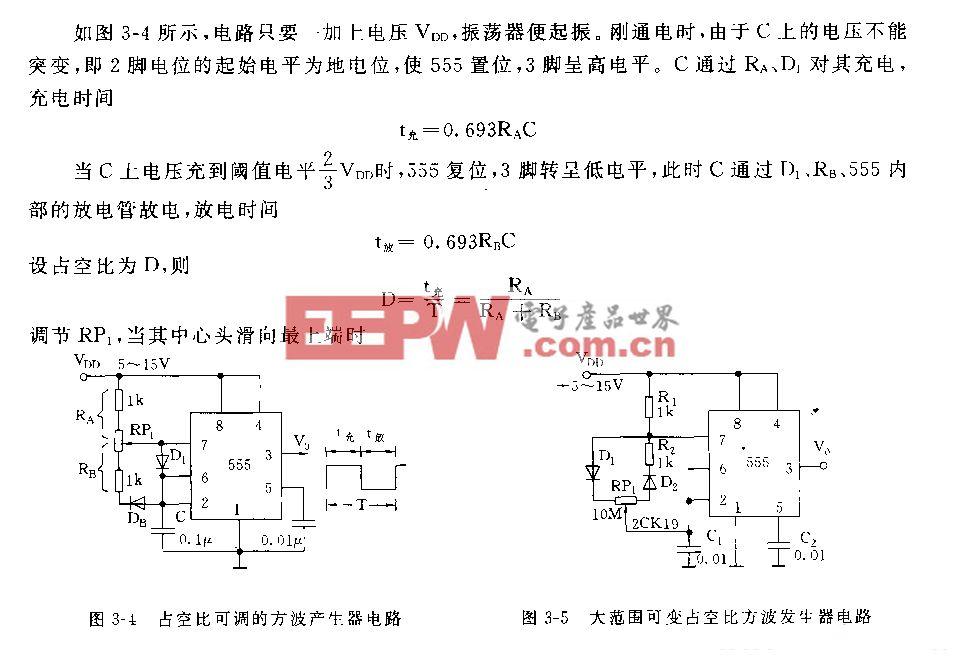 555占空比可调的方波产生器