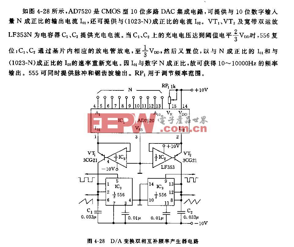 555D/A变换双相互补频率产生器电路