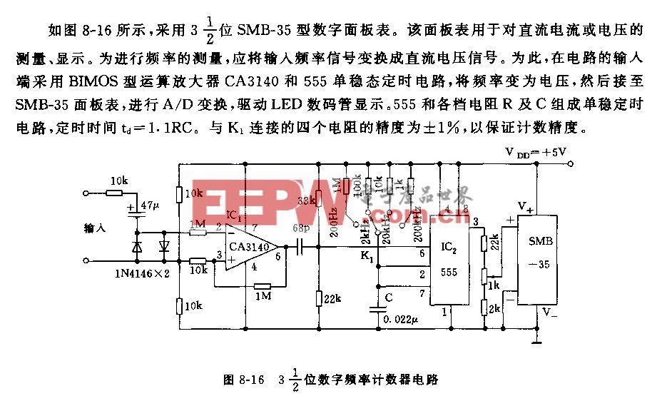 555 3-1/2位数字频率计数器电路