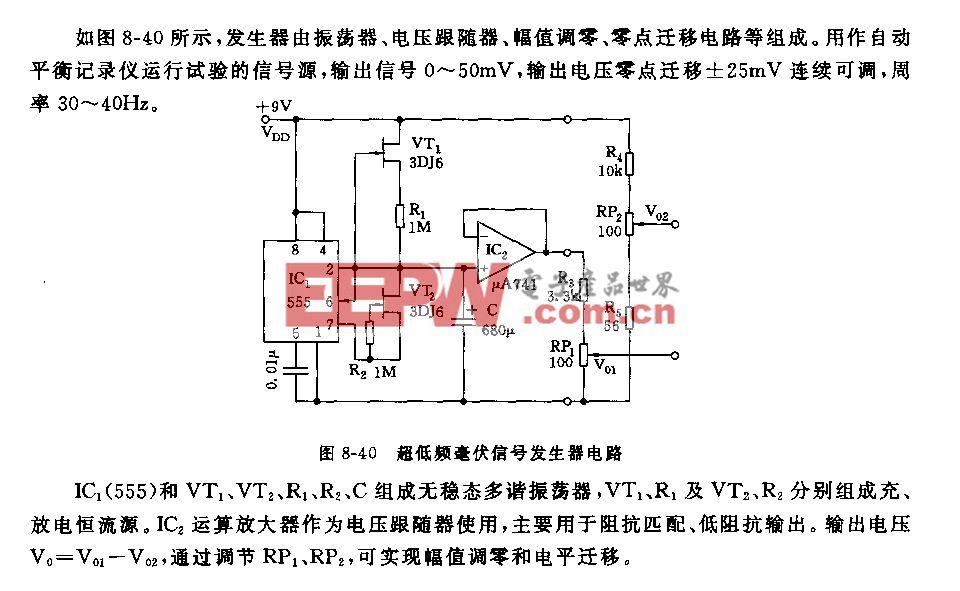 555超低频毫伏信号发生器电路