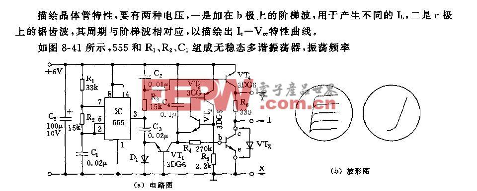 555晶体曾特性曲线描绘仪电路