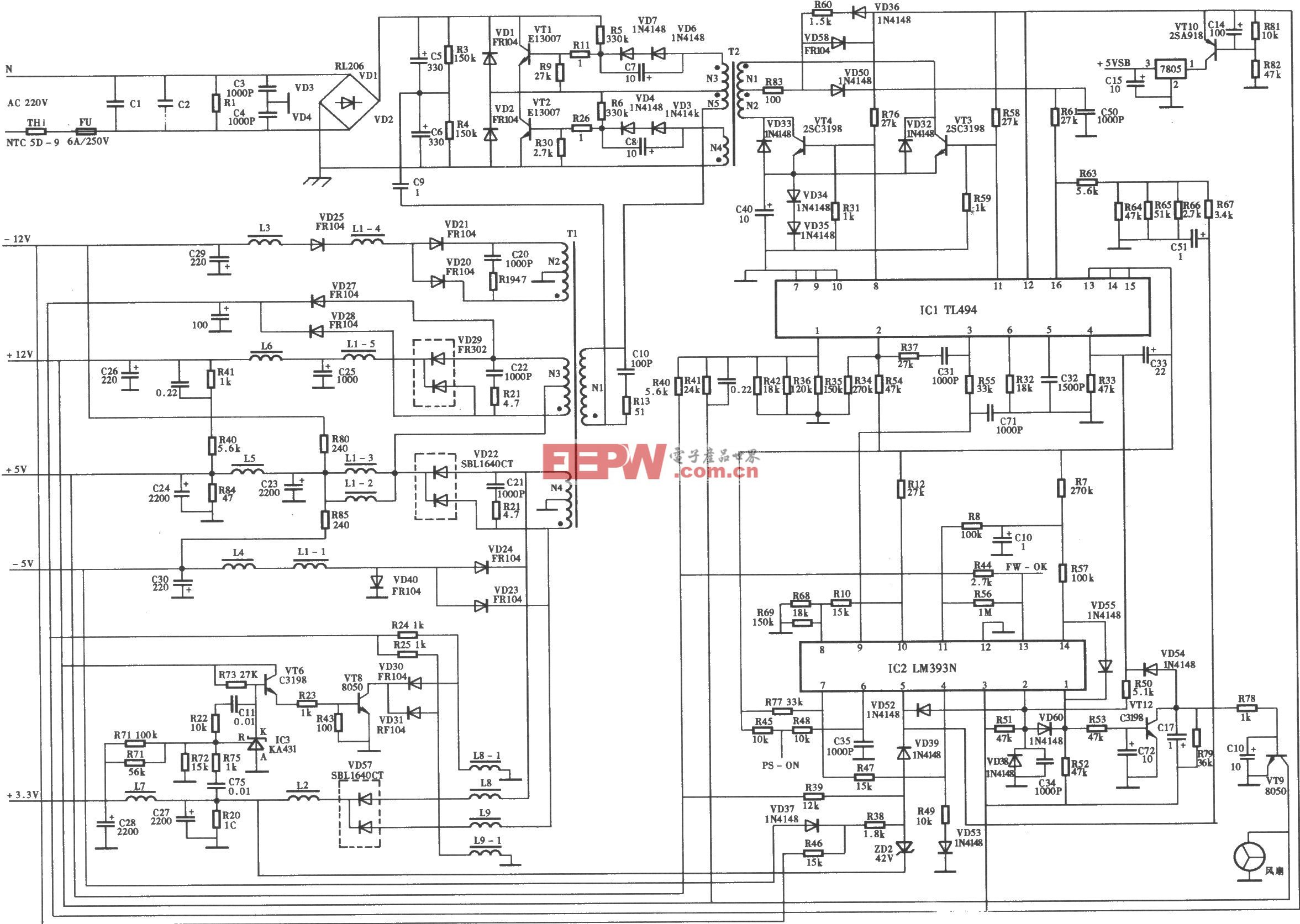百盛BS-2506-1型ATX开关电源(TL494) 电路