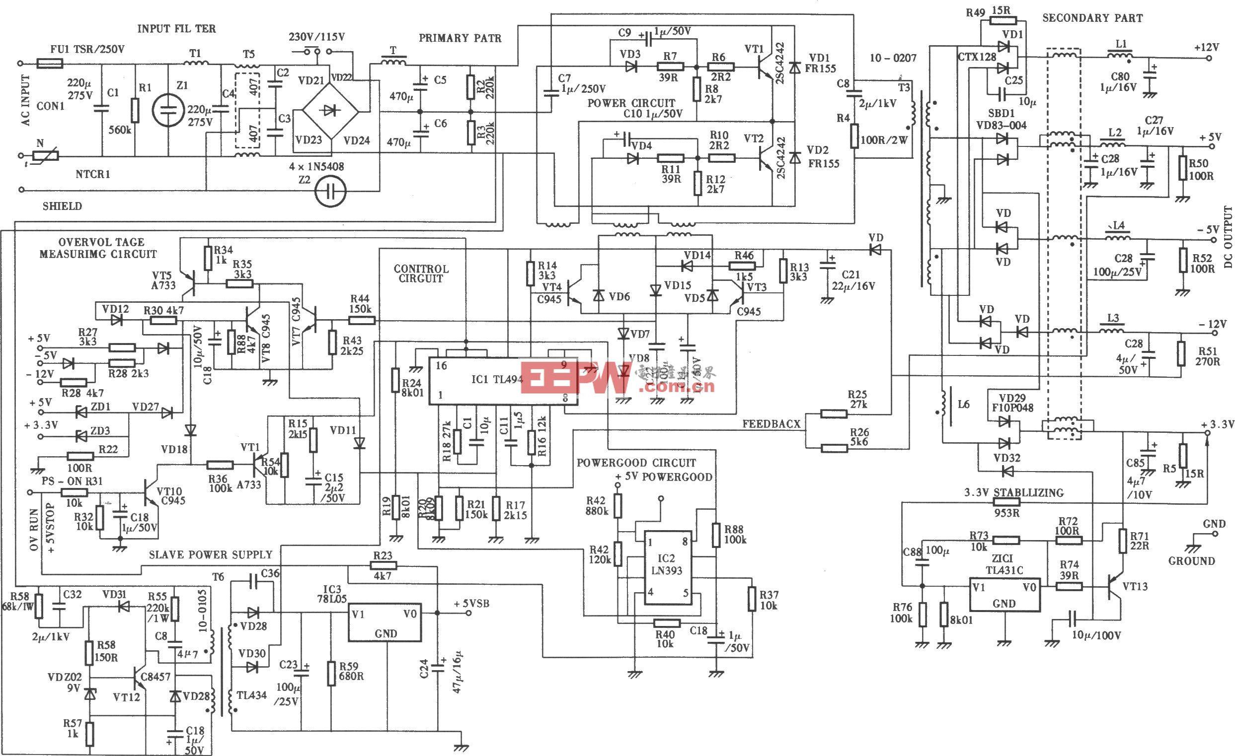 200WATX电源(TL494) 电路