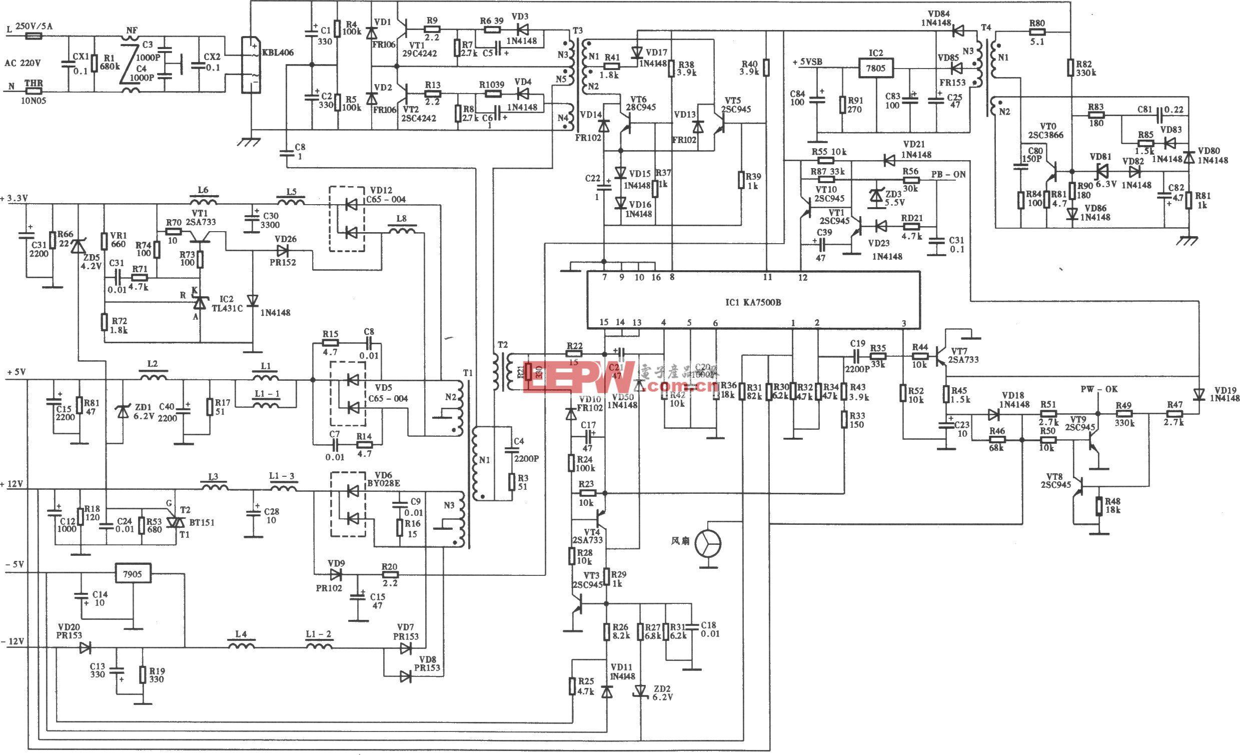 同创ATX-200SE-3型开关电源(KA7500B) 电路