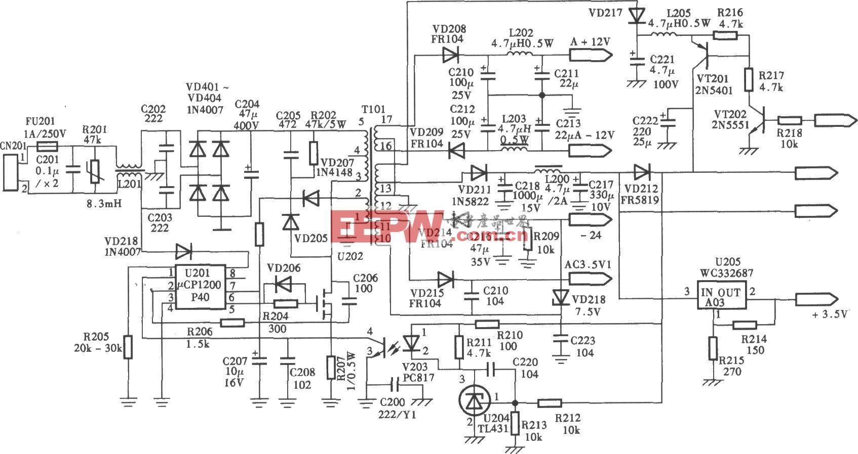 奇声PDVD-4026型逐行扫描DVD机开关电源(μCPl200) 电路