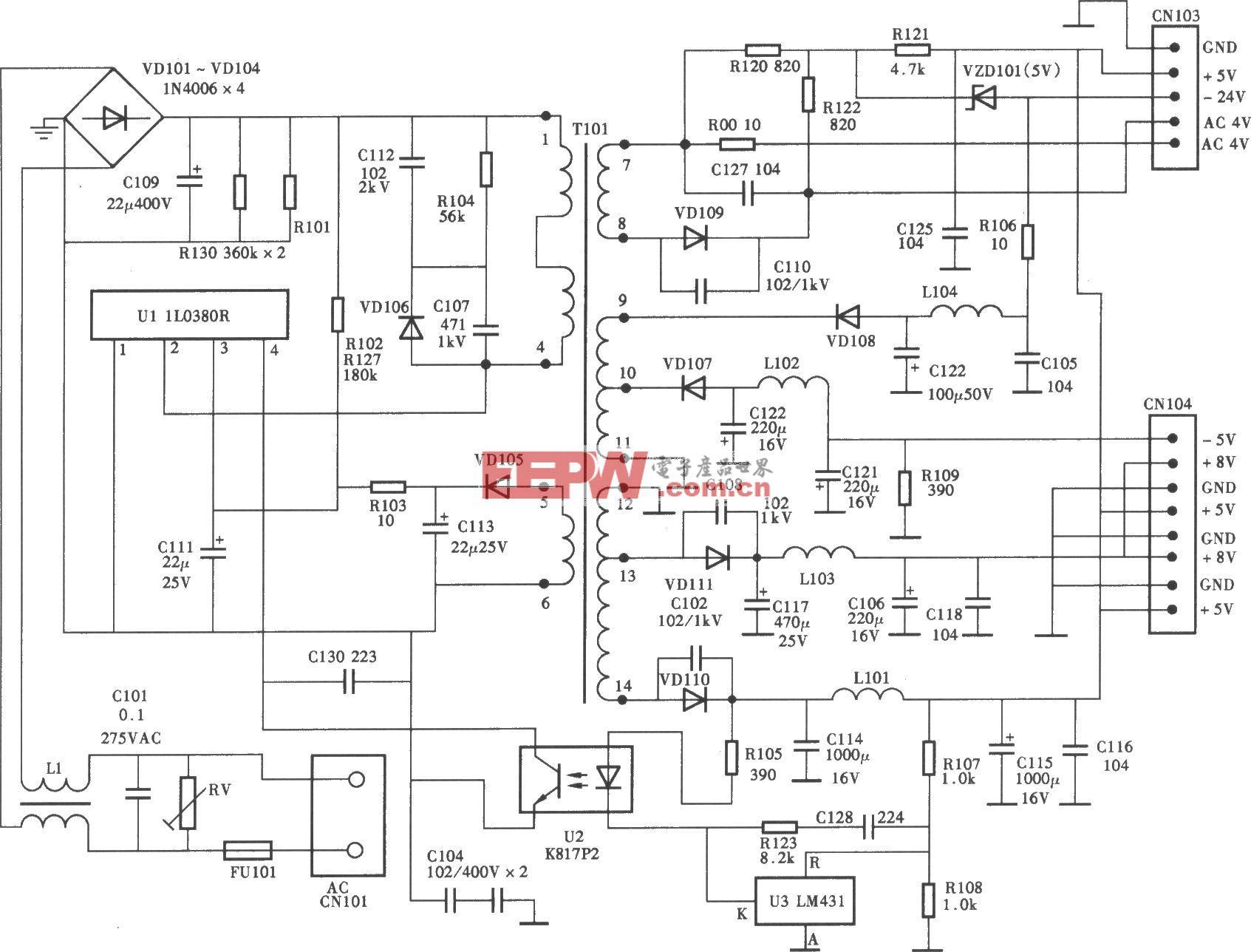 裕兴YX309A型超级VCD机开关电源(IR0380R)电路