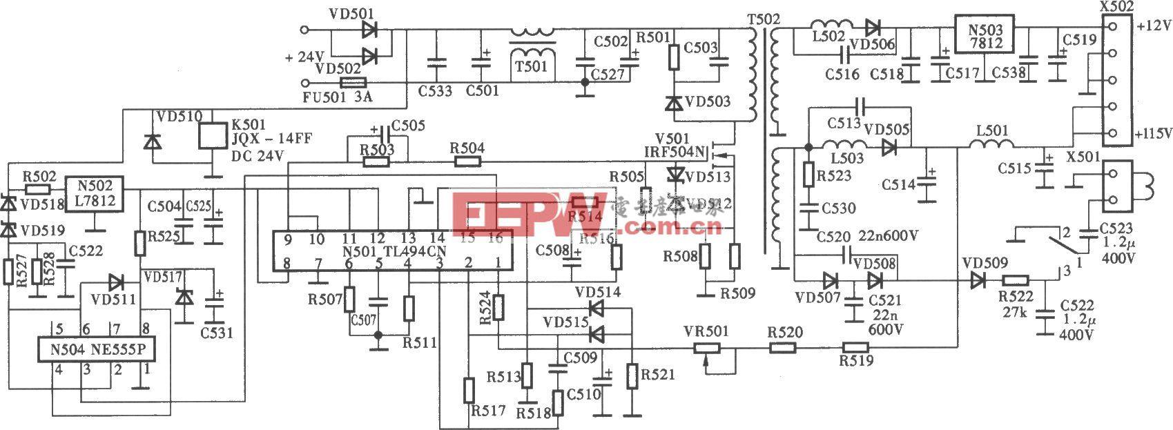 厦华车载彩电开关电源(TL49CN)电路
