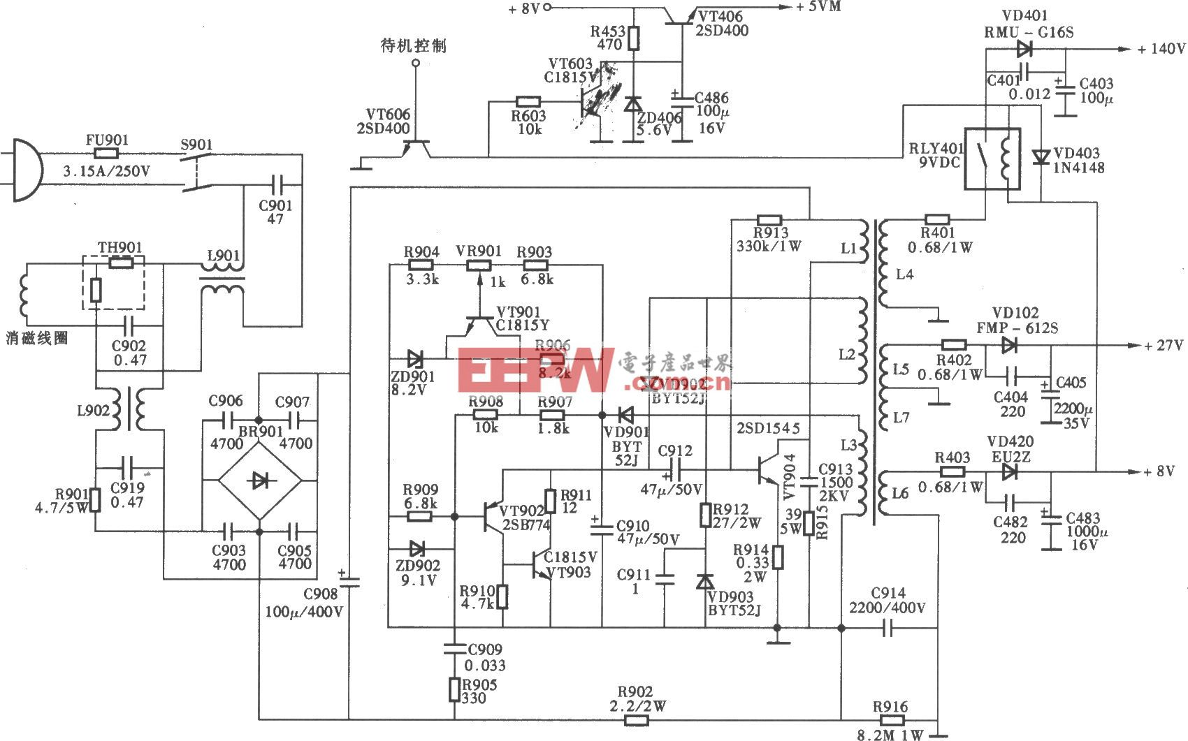 创维数码5000系列彩电开关电源(AN单片机)电路