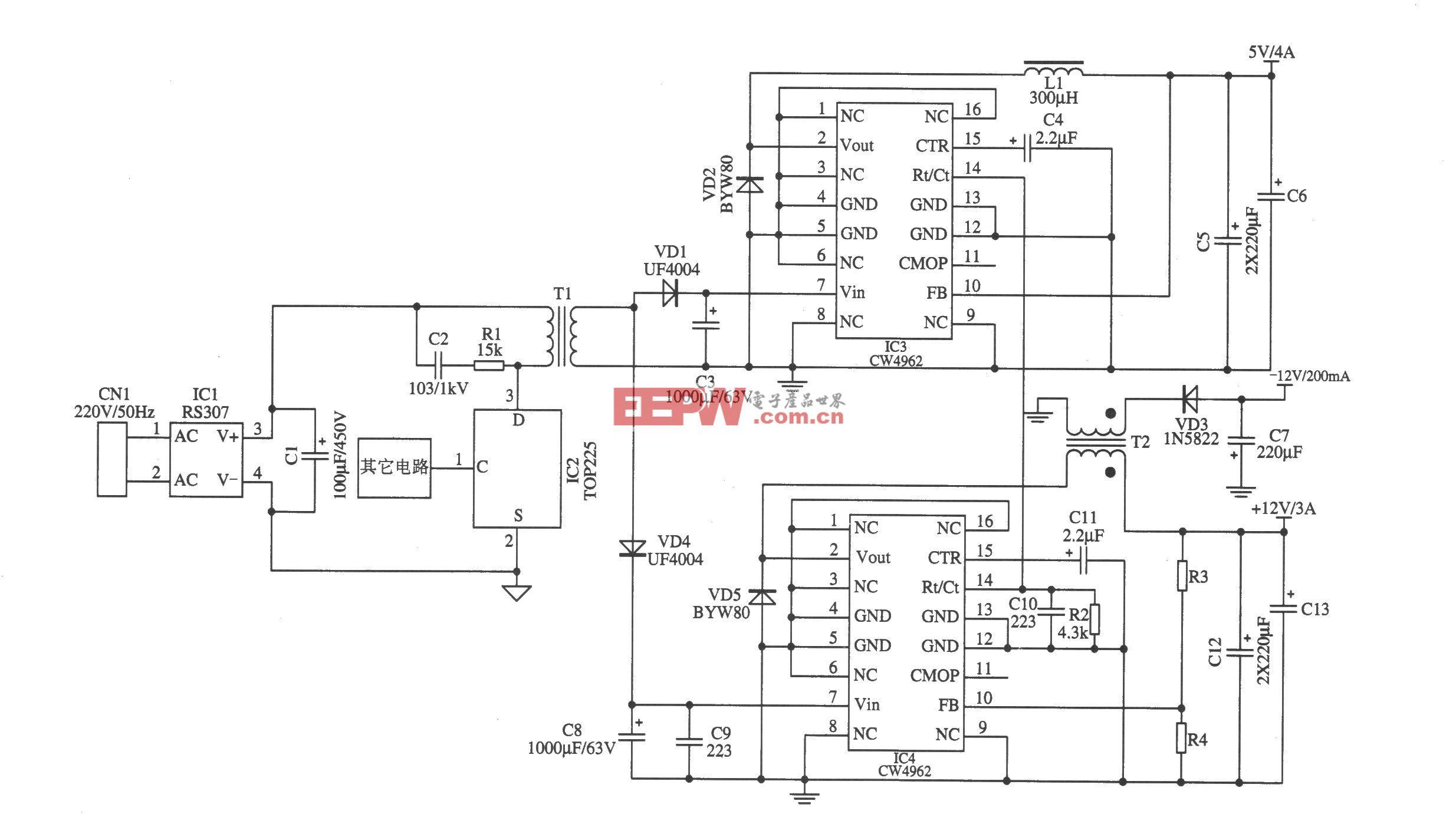 CW4962构成的开关电源降压后作为前级输入电源(1)