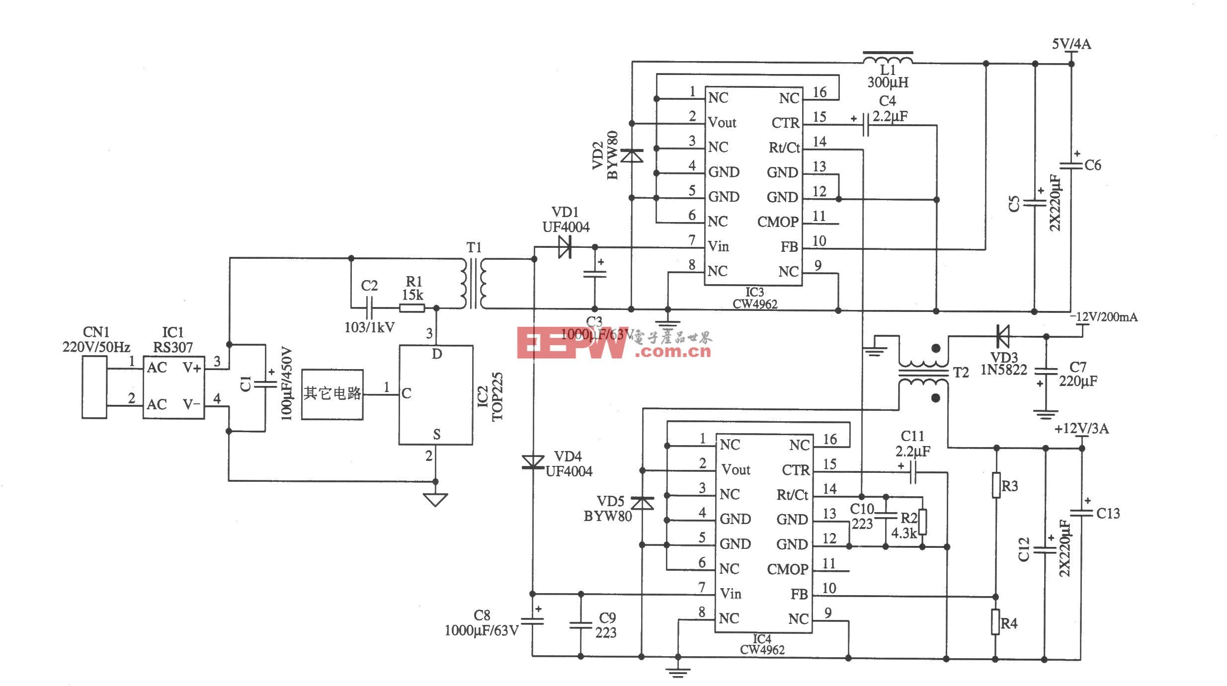 CW4962構成的開關電源降壓后作為前級輸入電源(1)