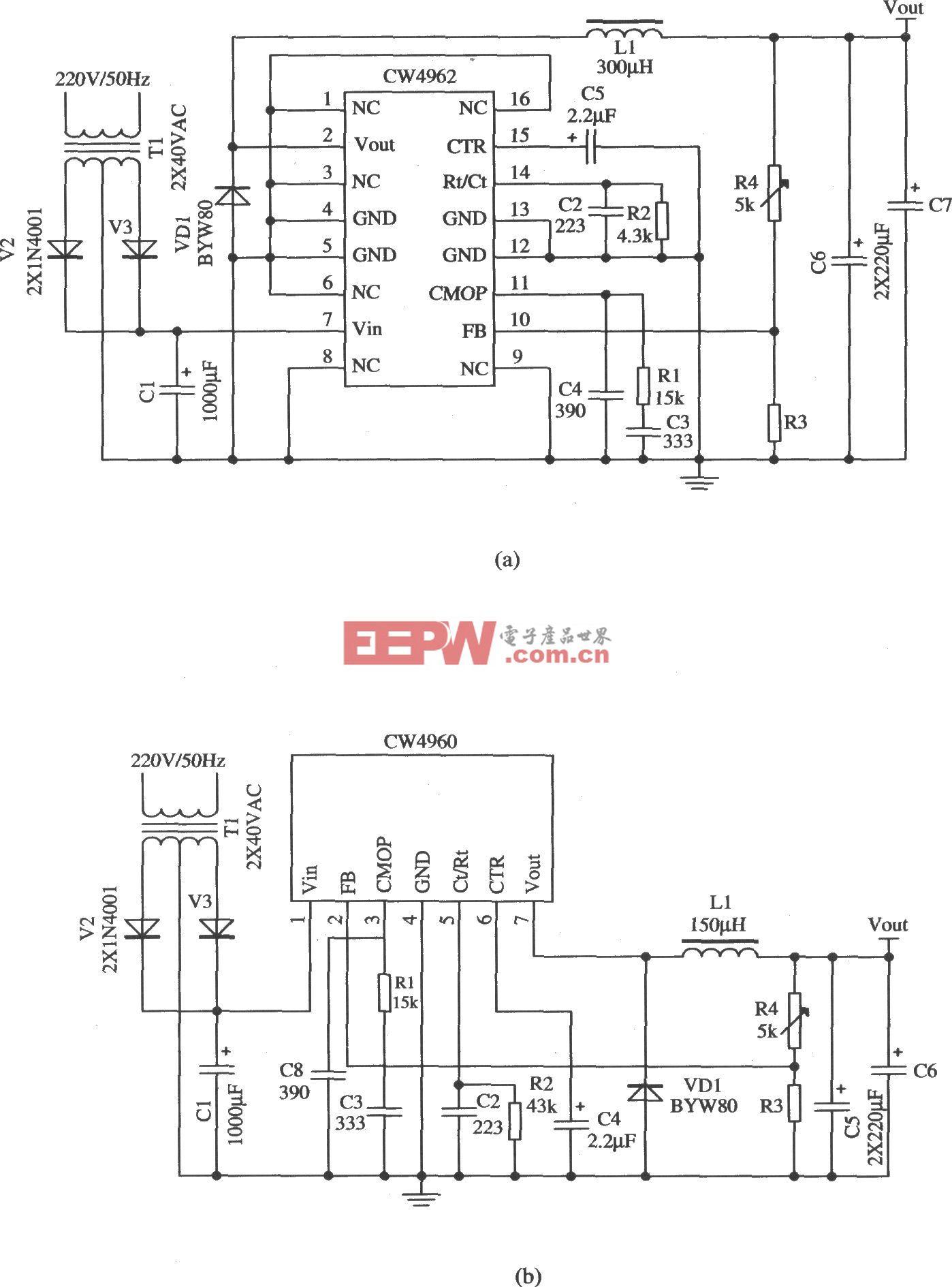 工频变压器对交流220V电网电压降压、整流、滤波后作为前级输入电源(CW1906、CW4962)