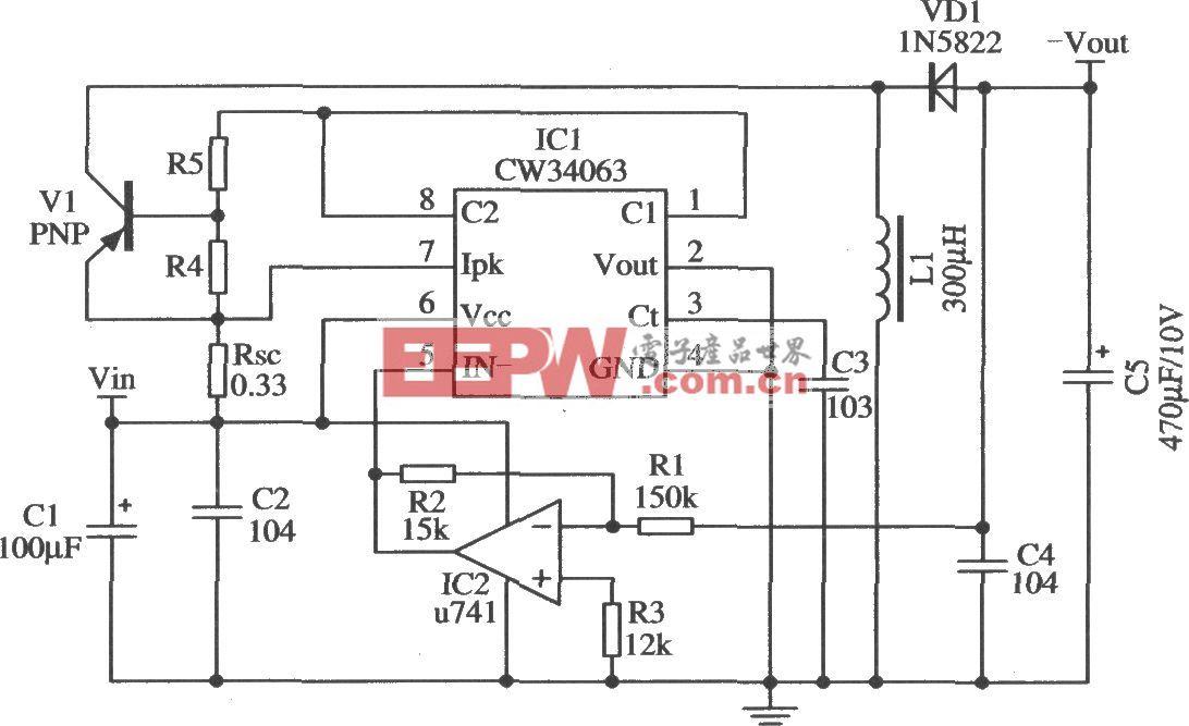 由CW34603構成的改變輸出極性且擴大輸出電流的應用電路