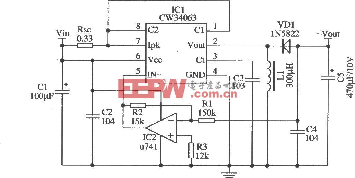 改變輸出極性的應用電路(CW34603)