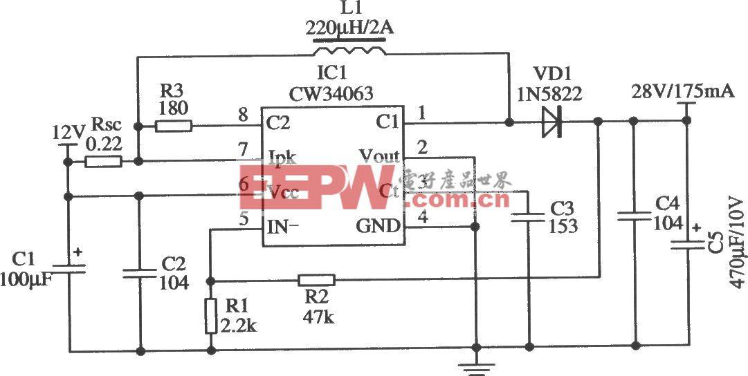 将降压型改装成升压型的应用电路(CW34603)
