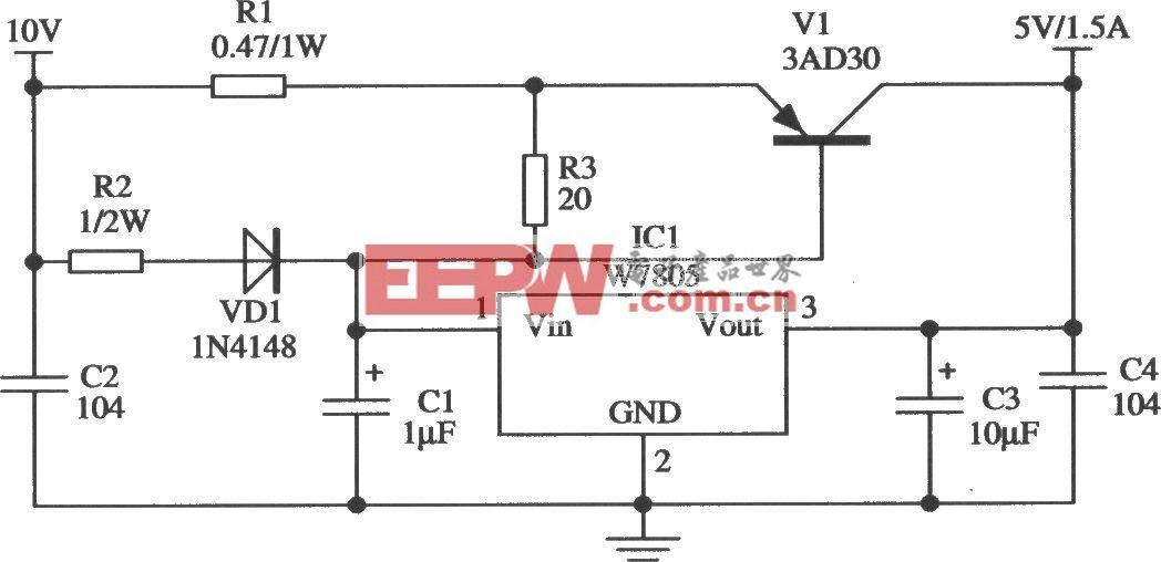 构成TTL电路供电电源的应用电路(W7805)