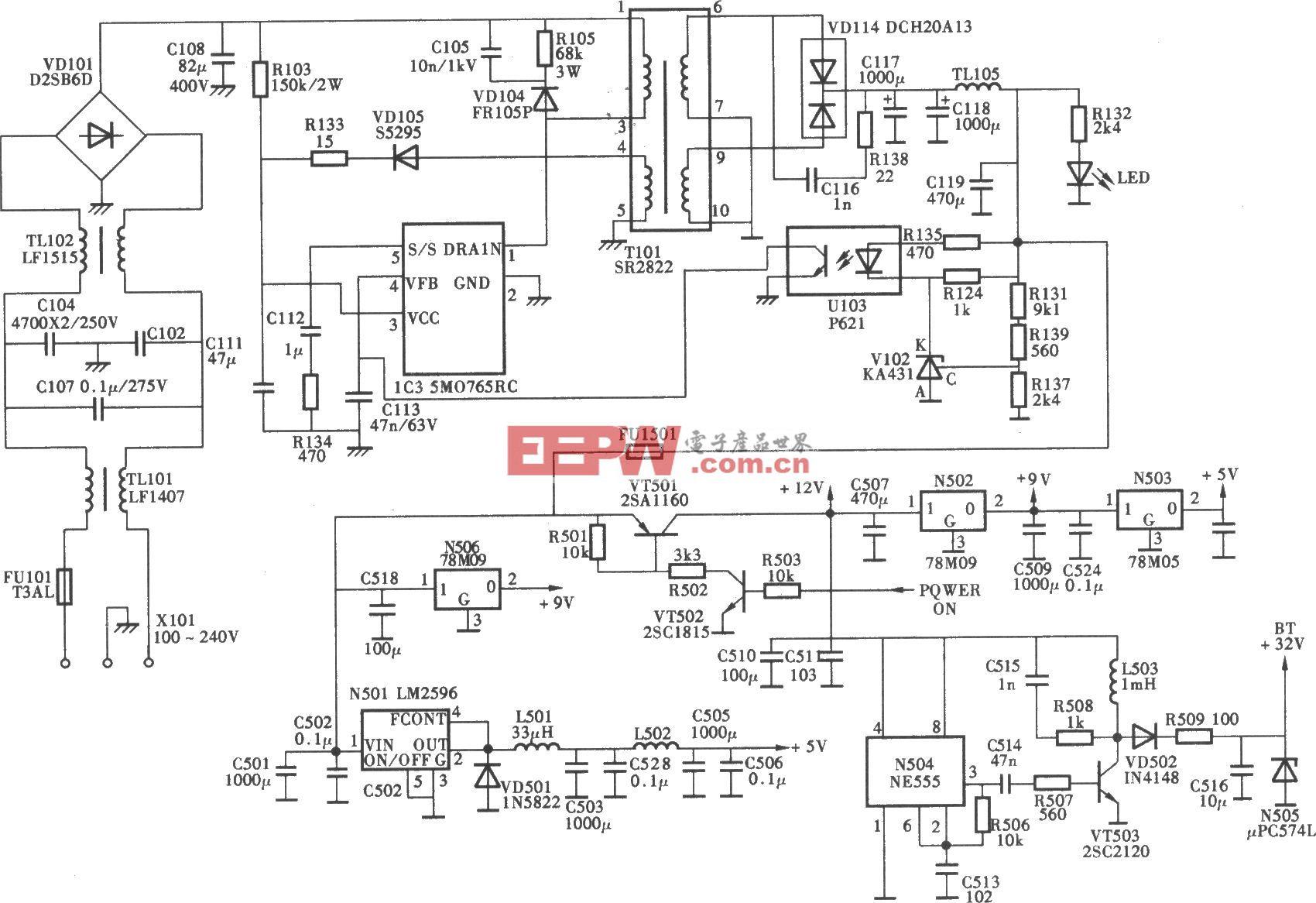 廈華L22A1K型數字高清液晶彩電開關電源(5M0765RC)電路