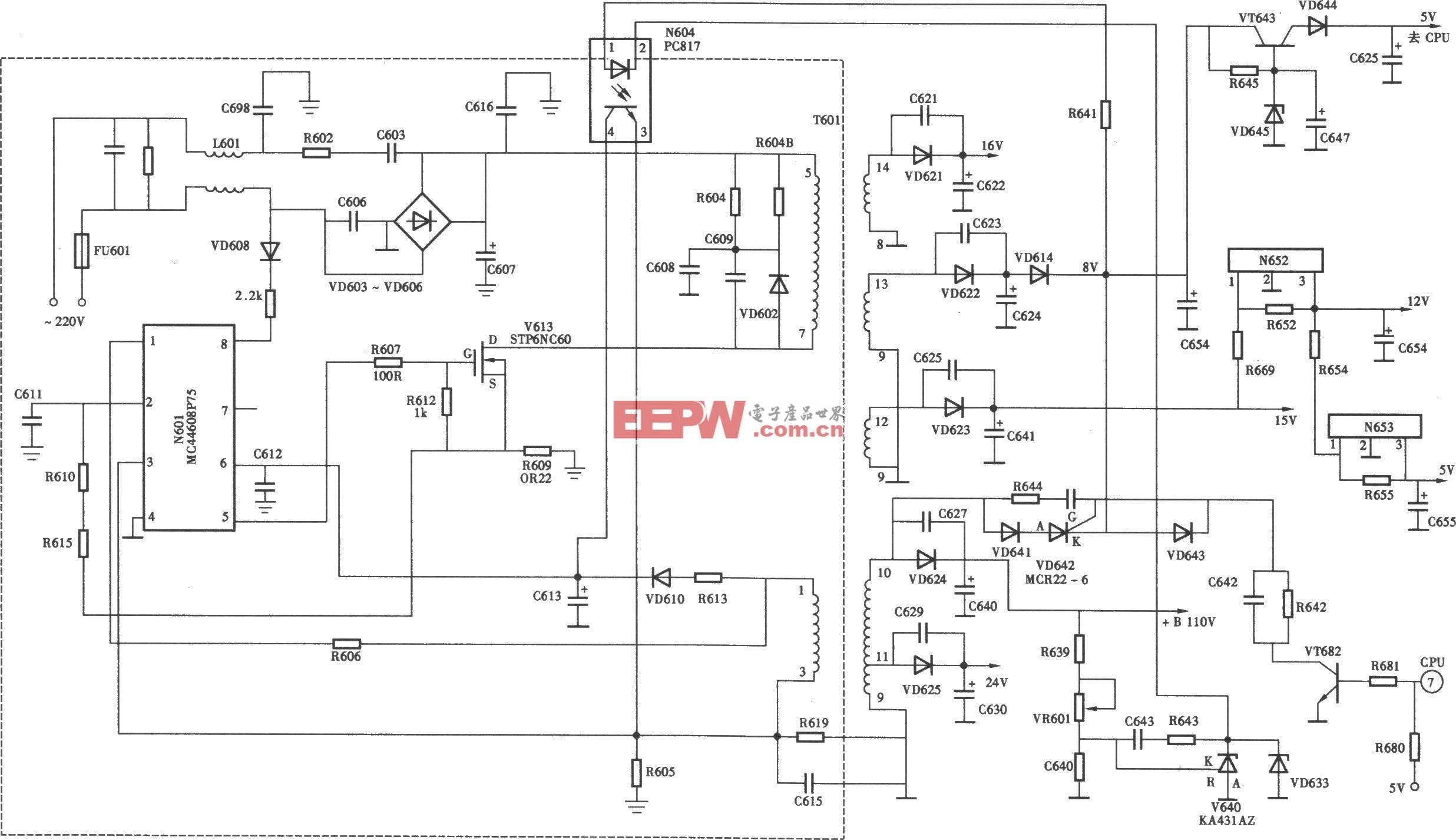 海信TC2102GD型彩电开关电源(MC44608P75) 电路