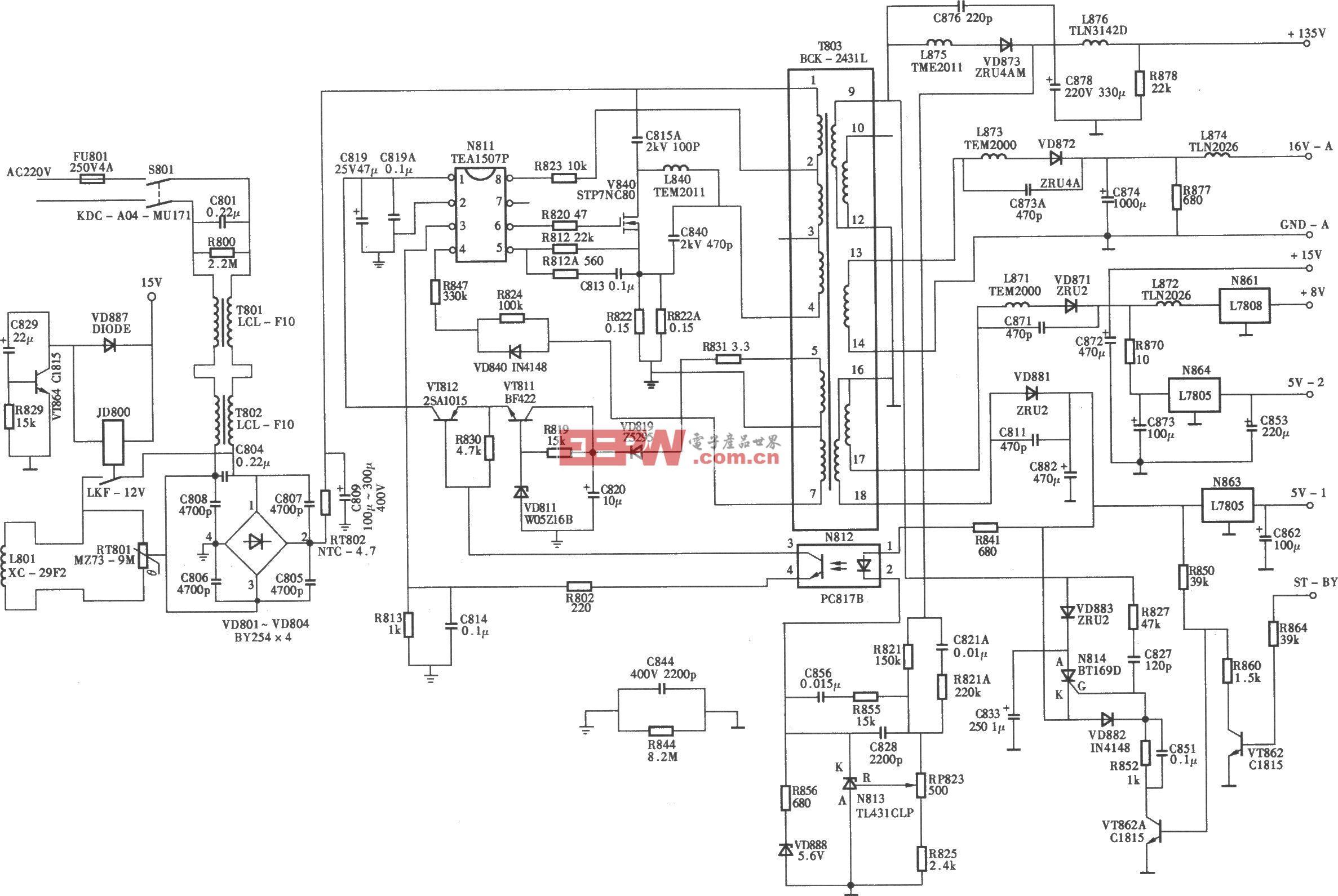 长虹PF2999D型大屏幕纯平彩电开关电源(TEAl507P)电路