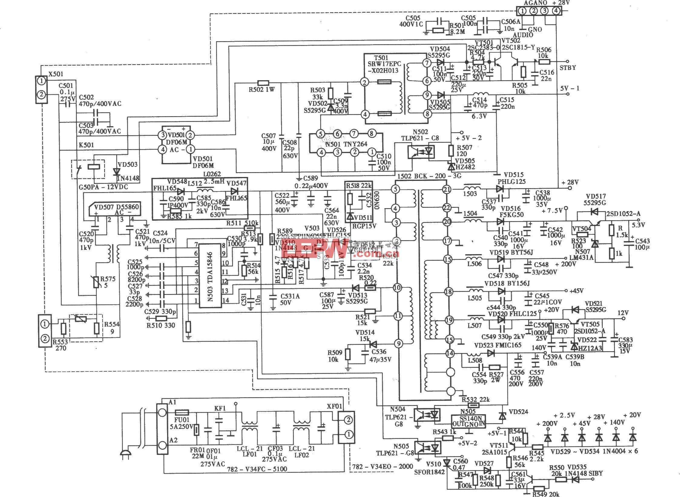厦华V系列HDTV-ready高清彩电开关电源(TDAl6846)电路
