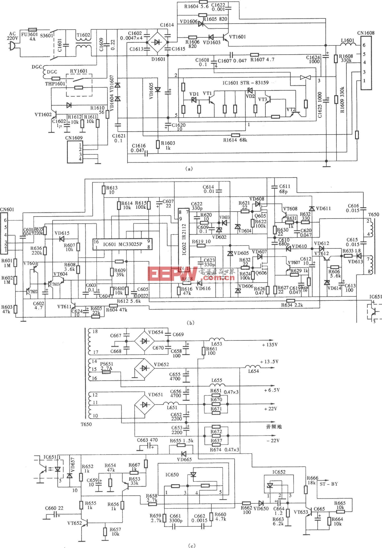 索尼KV-S29MHl(S机芯系列)彩电开关电源(SIR一80145A)电路