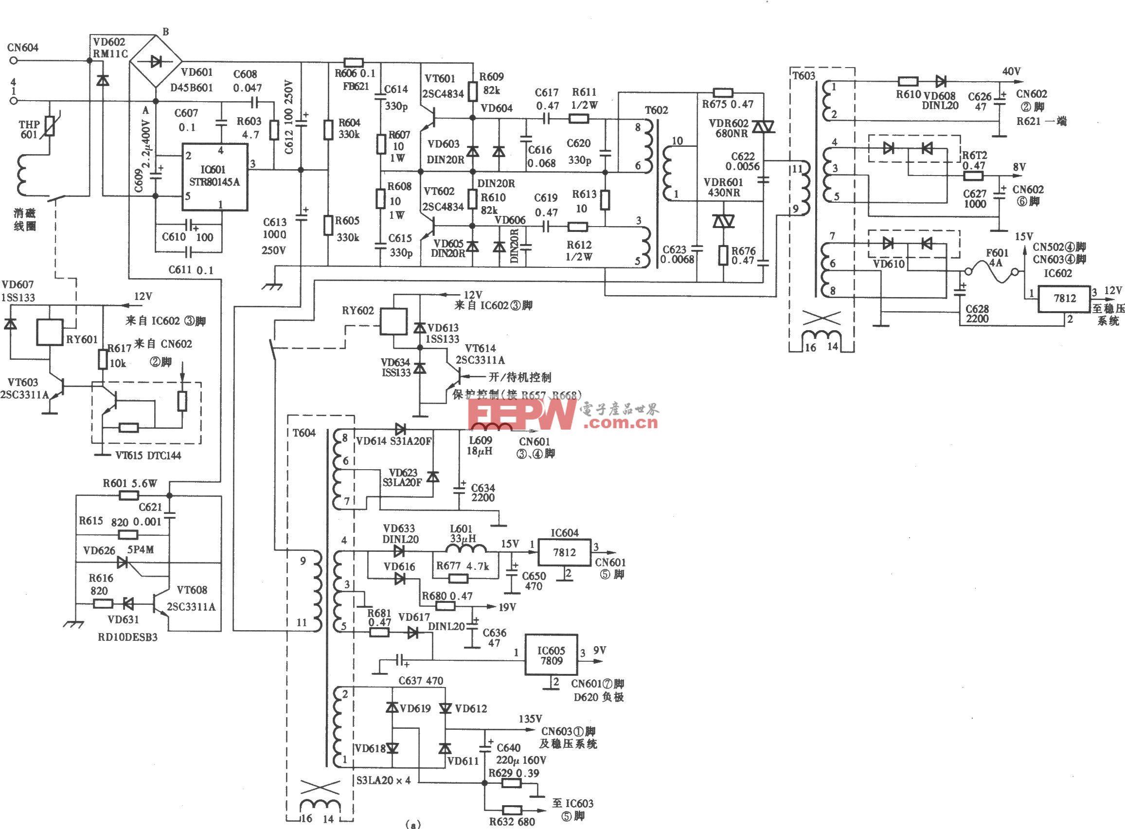 索尼KV-W28MHll型彩电半桥式开关电源(STR-83159)电路