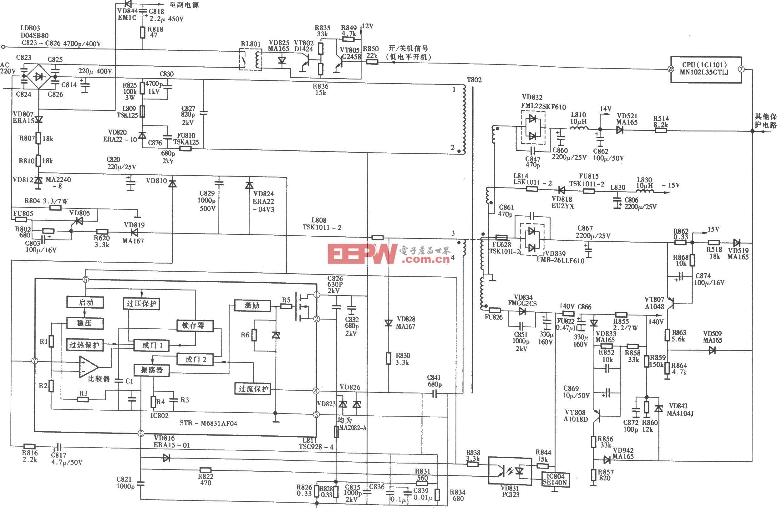 松下TC-29P100G信频彩电开关电源(STR-M683Laf04) 电路