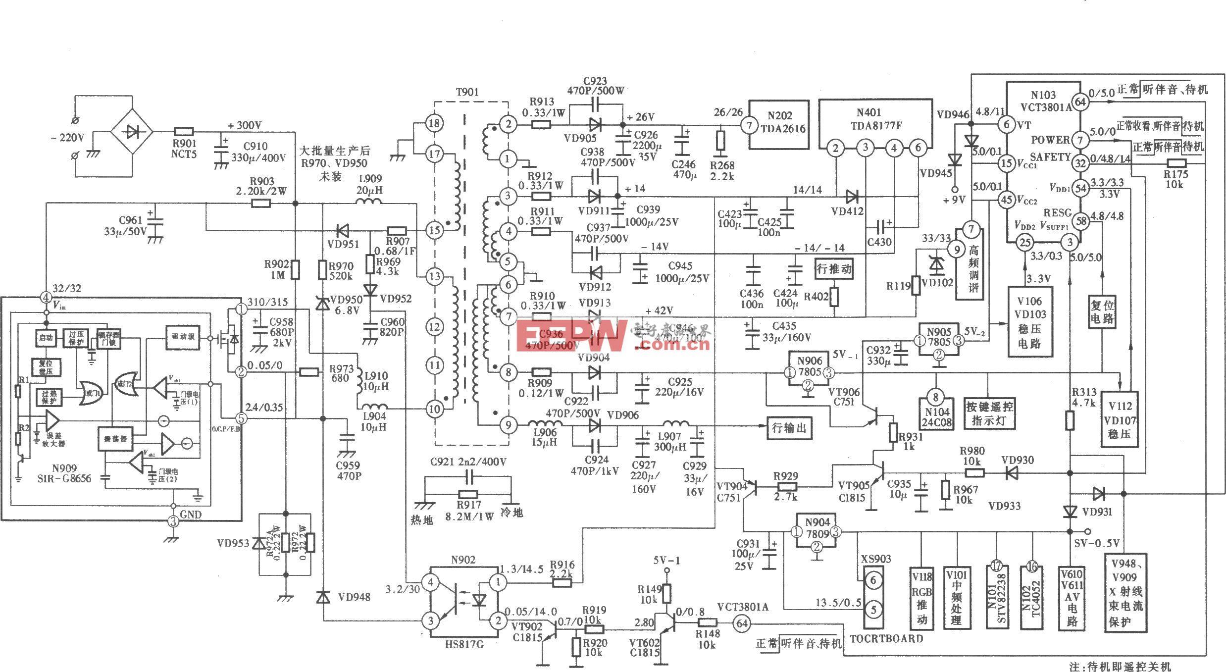"""康佳T2967S(""""s""""系列)型彩电开关电源 (STR―G8656) 电路"""
