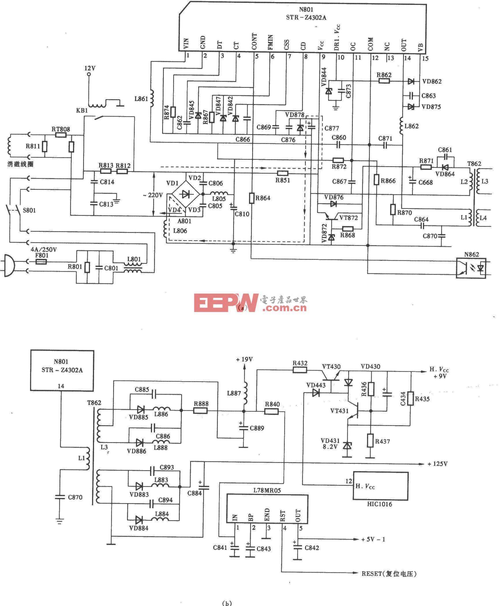 海信TG-1B机芯彩电开关电源(STR-Z4302A)电路