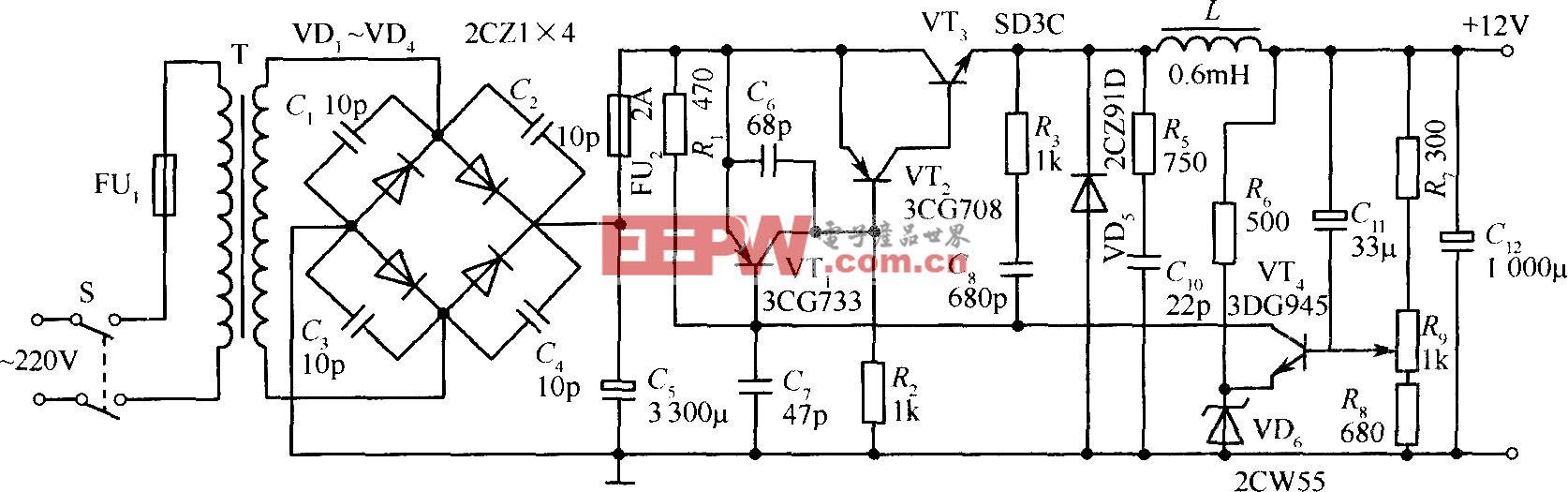 晶体管开关稳压电源应用电路实例