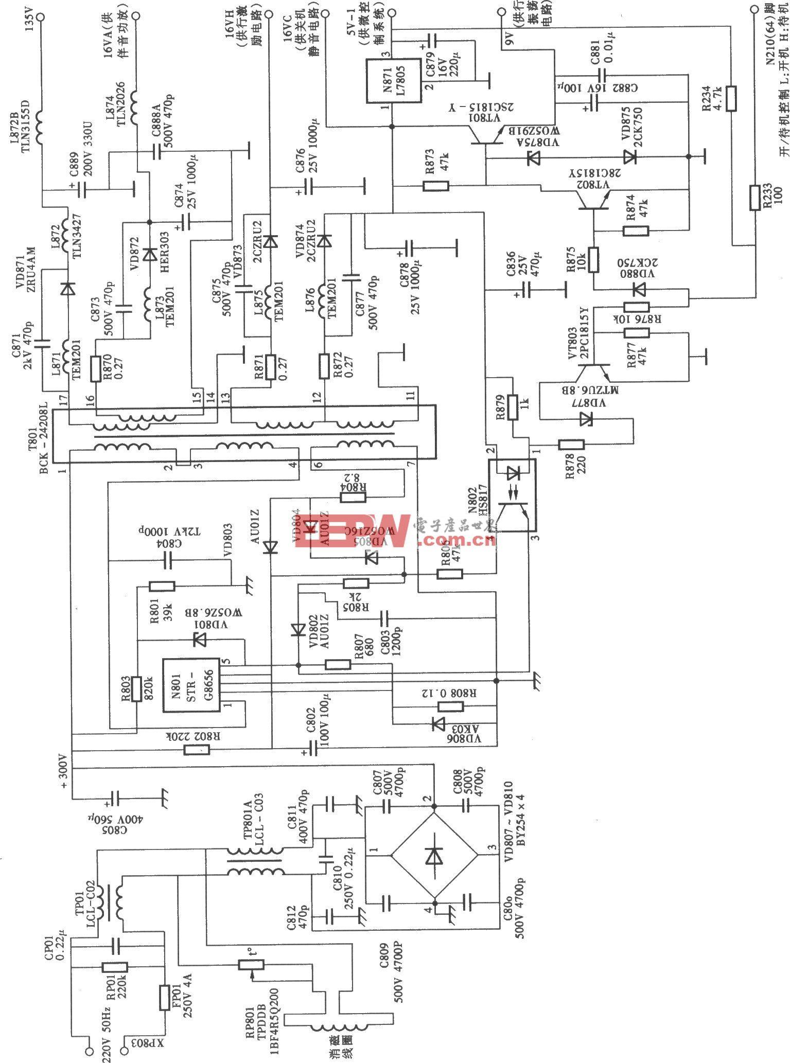 长虹PF2991E型大屏幕纯平彩电开关电源电路
