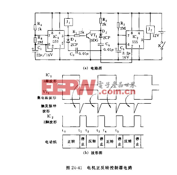 555电机正反转控制器电路图片
