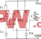 555构成间接反馈型无稳态自激多谐振荡器电路