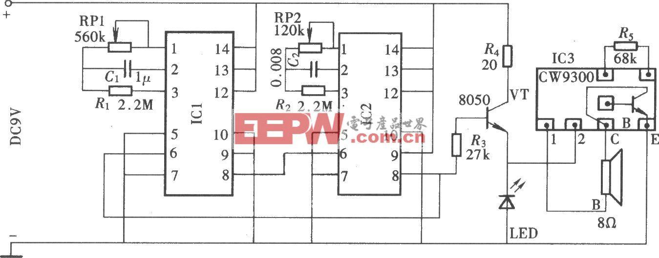 由CD4511组成的循环式定时提醒器电路