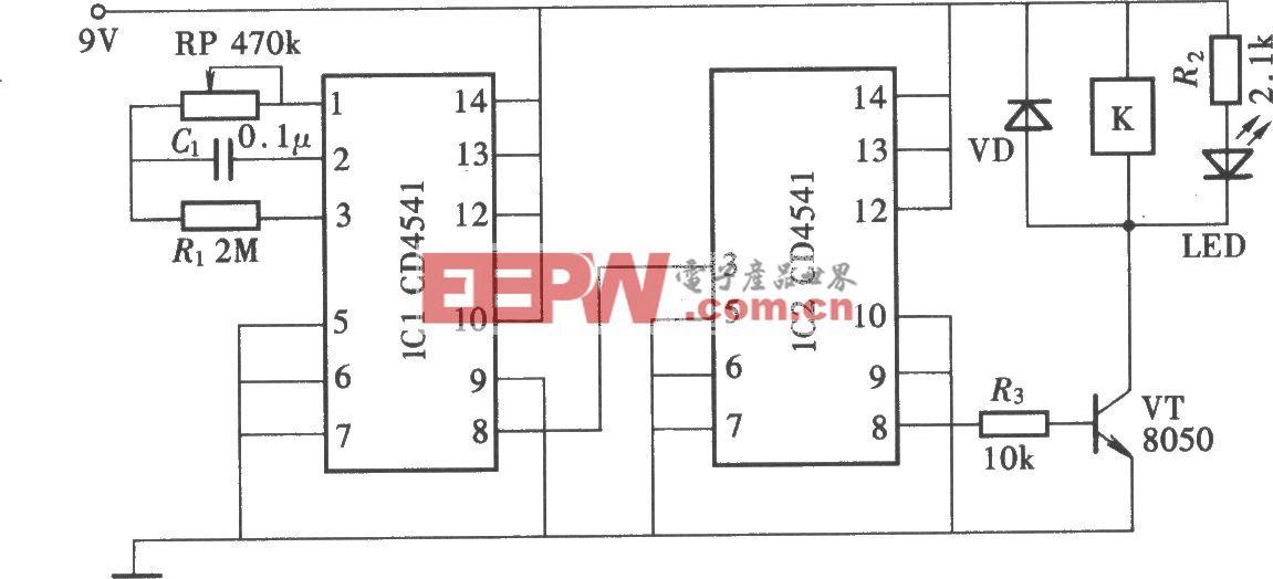 用CD4541组成的长延时定时电路
