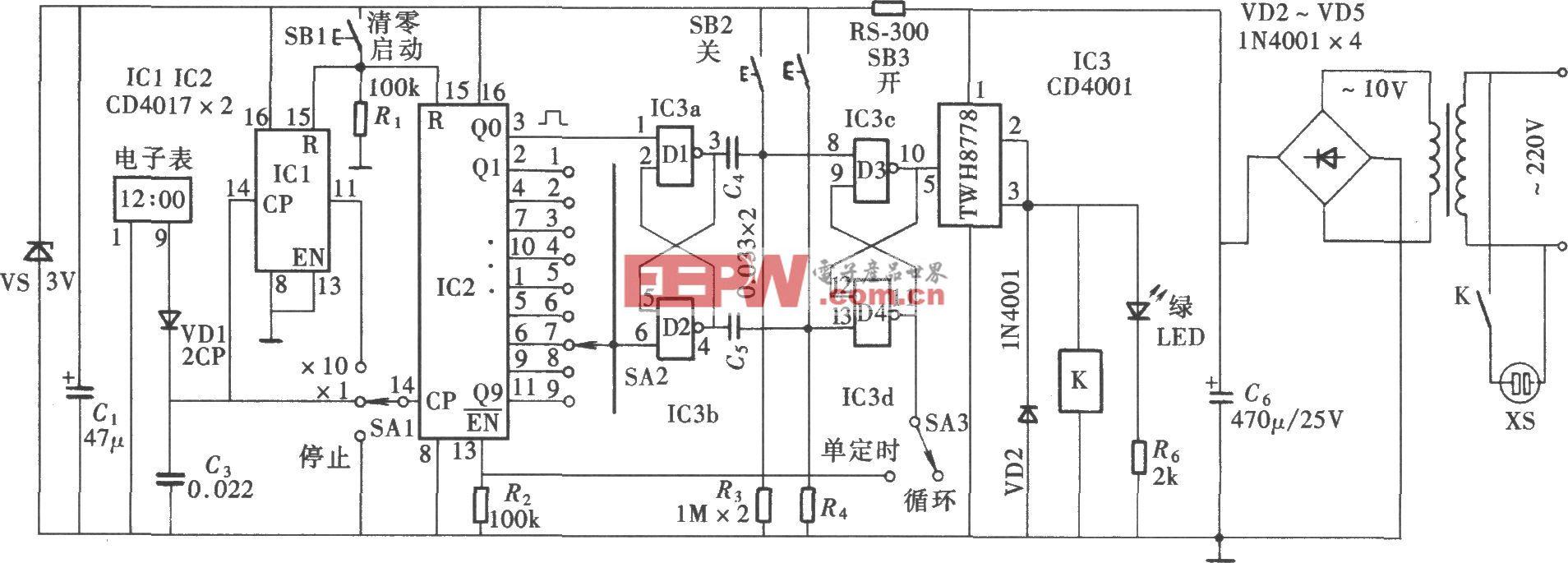 可调式可循环定时控制器(CD4001、CD4017)