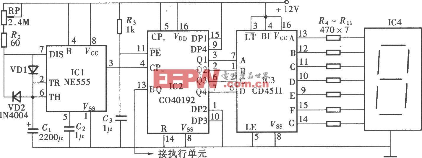 一位数显式定时器(NE555、CD4511、CD40192)